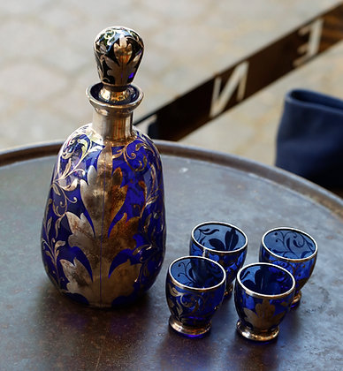 Stunning Decanter with 4 Glasses, Sterling Silver Inlay on Cobalt glass