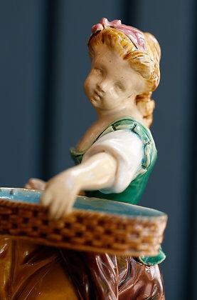 Victorian Minton Majolica Hogarth Girl Match Holder Figure