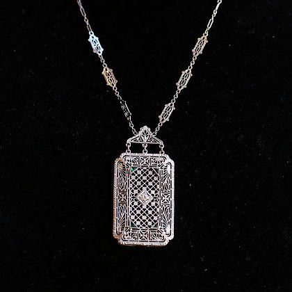 Filigree Art Deco Necklace with Center Diamond and Fault Emeralds