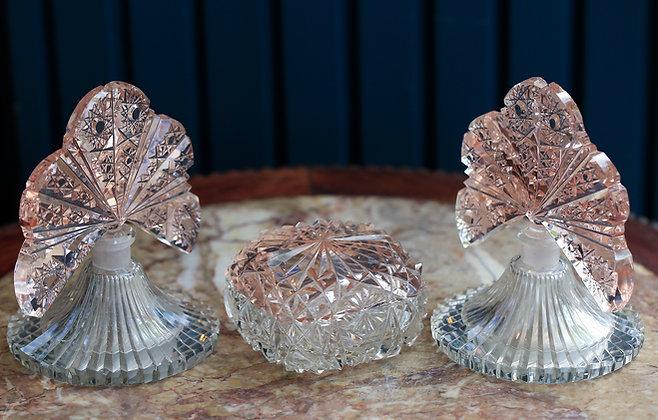 1940's Crystal Perfume Bottle Set ( 3 Pieces )