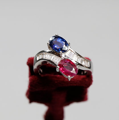 18K Gold Ring with Ruby, Sapphire and Diamonds