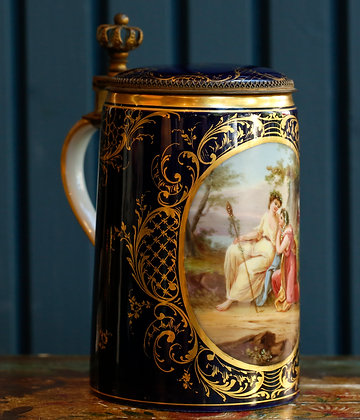 Antique Royal Vienna Style Hand Painted  Stein with Bronze Mounts