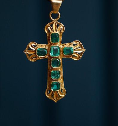 18K Gold Colombian Emerald Cross