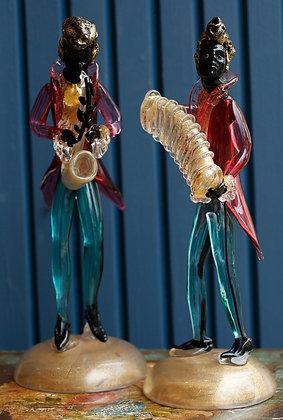 Pair Of Murano Rare Glass Jazz Musicians