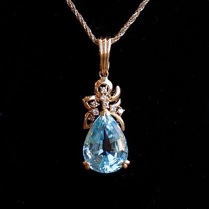 Blue Topaz 14K Gold Pendant with Diamonds