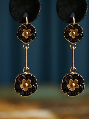 Vintage Handmade 18K Gold Garnet Stones Flower Design Earrings