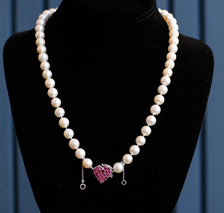 Vintage Akoya Pearls with 14K Gold and Ruby Pendant