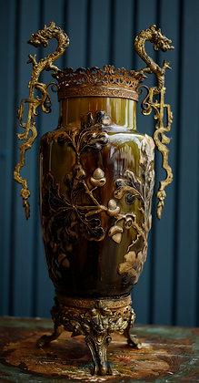 Vintage Green Ceramic Vase with  Metal Handles