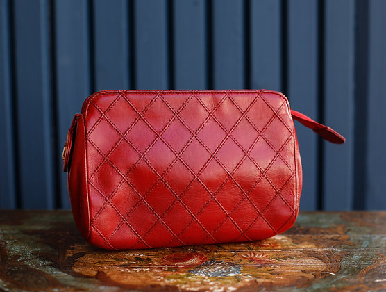 Chanel Red Quilted Lambskin Rare Find Cosmetic Case