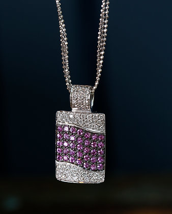 18K Gold Unusual Chain and 18K Gold Pendant with Diamonds - Rose Sapphires