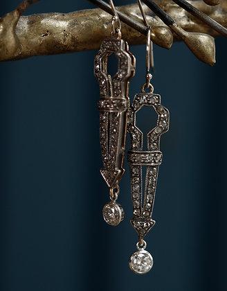 18K Gold Diamond Long Earrings