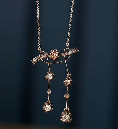 14K Gold Victorian Necklace with Rose and White Diamonds
