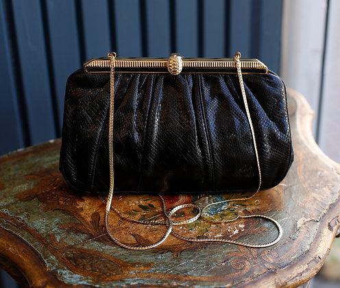 Judith Leiber Black Snakeskin Bag