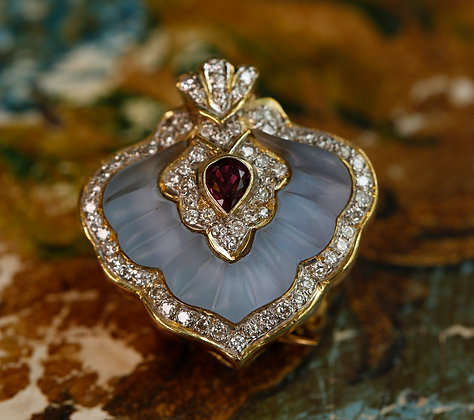 14K Gold Spade Pendant / Pin with Crystal, Ruby and Diamonds