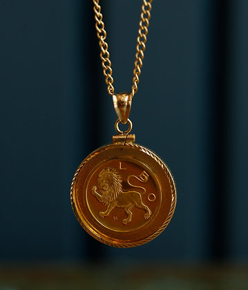 "18K Gold Zodiac Sign Medal "" Leo"" Necklace"