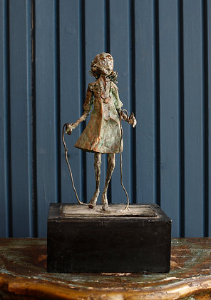 One of a Kind, Metal,  Rope Jumping Girl Sculpture