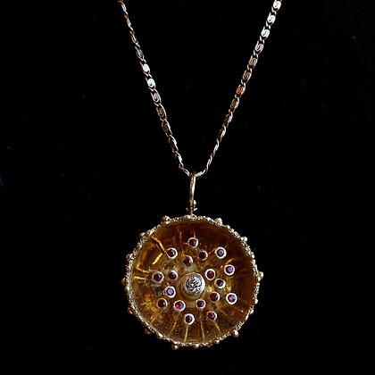 Vintage Sunburst Gold Ruby Pendant