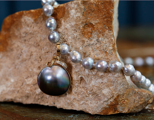 14K Gold Pendant with Diamonds and Beautiful Cultured Pearl Necklace