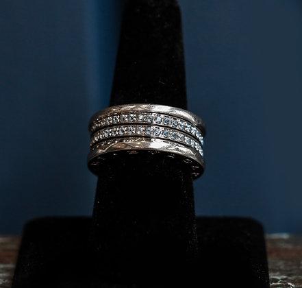 18K Gold Bvlgari Eternity Ring with Emeralds