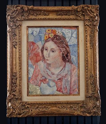 Teresa Borri Oil Painting of a Young Woman