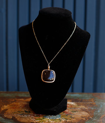 18K Rose Gold Pendant with Smoke Quartz Large stone and Diamonds