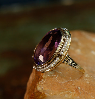 14K Gold Ring with Large Amethyst and  Sea Pearls