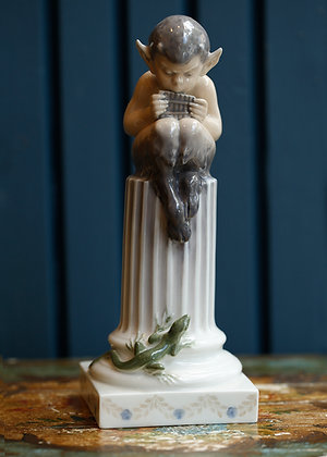 "Original, Royal Copenhagen Porcelain Figurine ""Faun with Lizard"""