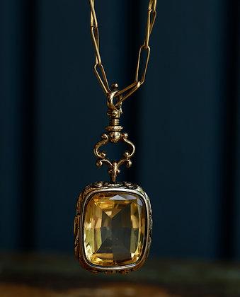 Large topaz 14K Gold Necklace