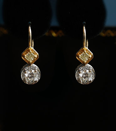 Antique Gold Earrings with Diamonds