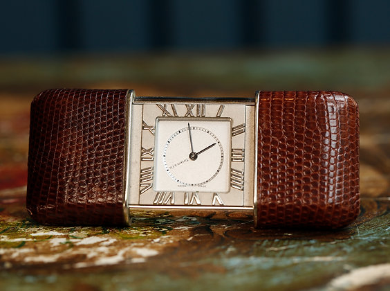 Tiffany & Co. Atlas Travel Clock , Silver Dial Stainless Brown SnakeSkin