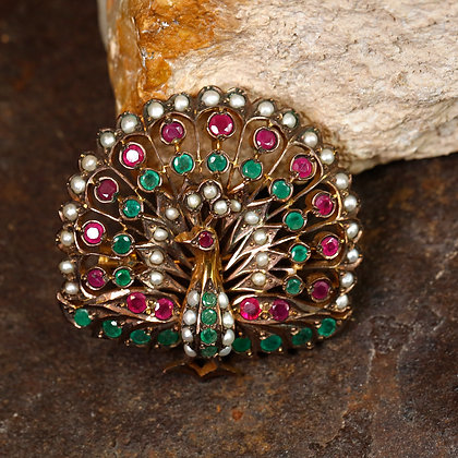 Bird Design Brooch,Emerald, Pearls and Rubies on Sterling