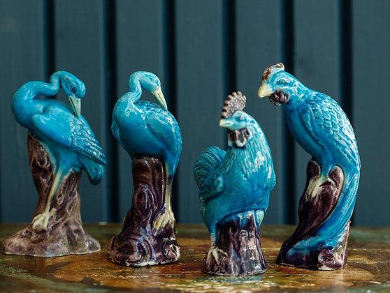 Blue Vintage Porcelain Birds