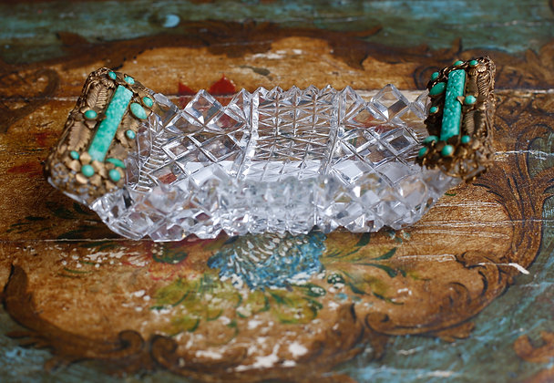 Unusual Shape Crystal Dish Metal Holder with Color Stones