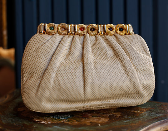 Judith Leiber Beige Pleated Snakeskin Exquisite Bag