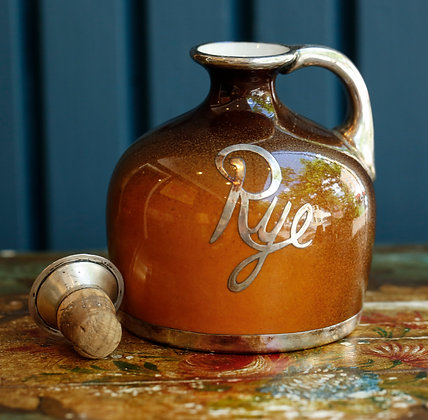 Lenox Rye Silver Overlay Accented Ceramic Jug with Sterling Stopper