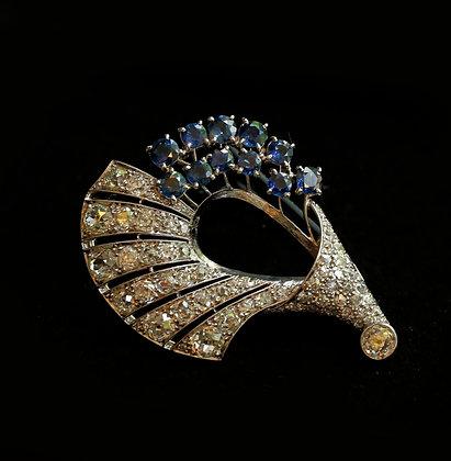Cornucopia Design 1950's Sapphire and Diamond Brooch