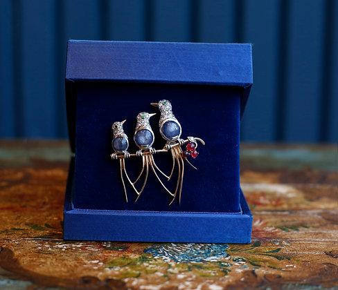 18K Platinum, Gold  Opal Rubies, Emerald Diamonds Pin