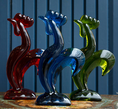 3 Colorful Murano Glass Hens
