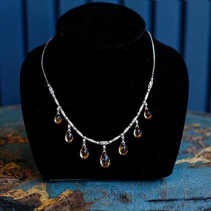 Vintage 18K Gold, Citrine and Diamonds Necklace
