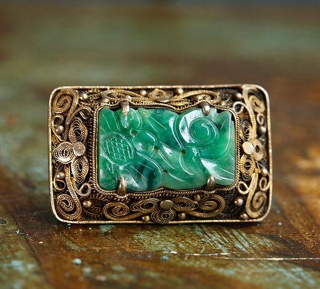 Beautiful Carved Jade on Sterling Brooch
