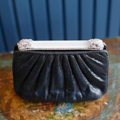 Judith Leiber Runway Exclusive Black Pleated Snakeskin Bag