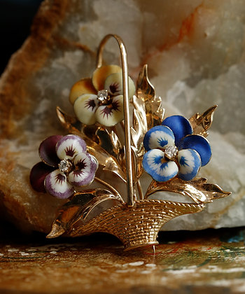 14K Gold Pin, Enamel and Diamonds, Vintage Brooch, Gold Brooch