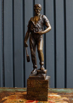 Young Man Ironstone Worker Bronze Sculpture