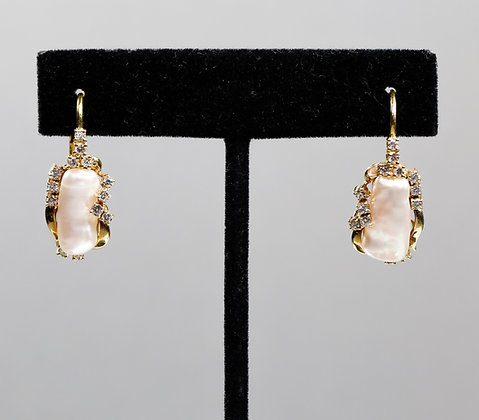 18K Gold Earrings with very Rare Pink Pearls
