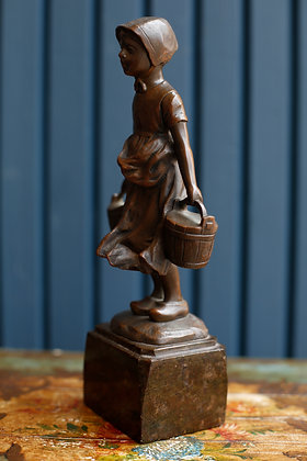Bronze Girl Sculpture Signed by Shimik