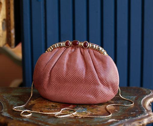Judith Leiber Famous Salmon Snakeskin purse