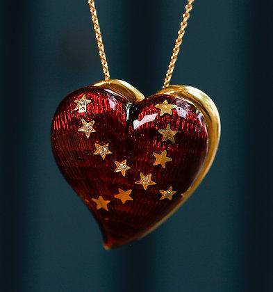 18K Gold Heart Shaped Enamel Pin / Pendant with Diamonds