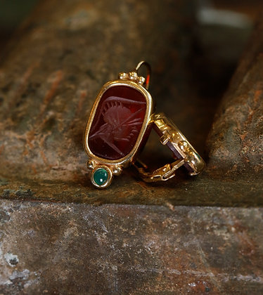 14K Intaglio Earrings, Vintage Earrings, Art Deco with Carnelian and Jade