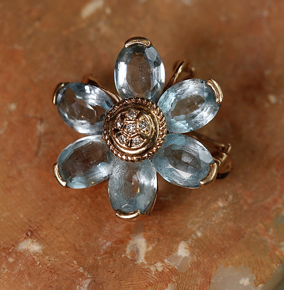 14K Gold Brooch with Aquamarine stones and Diamonds