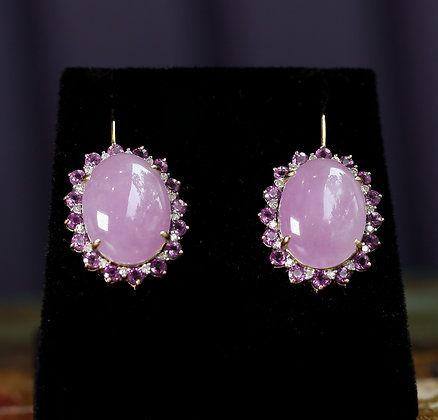 14K Gold Earrings with Quartz Amethyst and Diamonds
